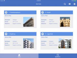 Startsida för Byggnet i iPadappen