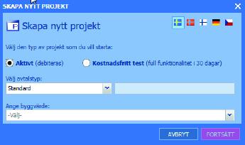 Skapa ett nytt projekt med Byggnet Access.